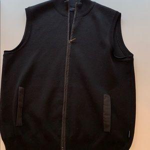 Canali Italian wool black zip up vest 50